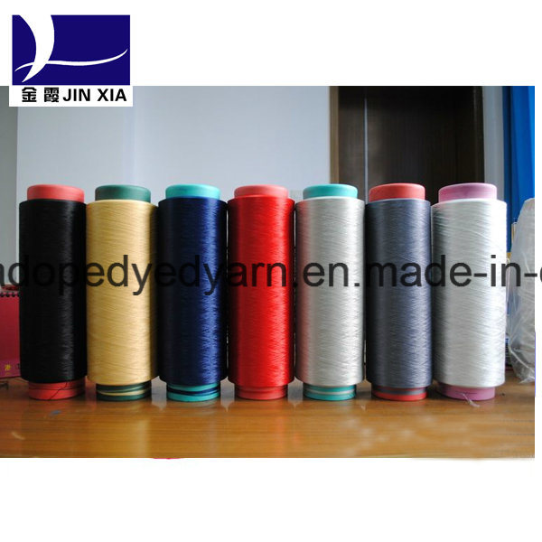 100% Polyester Filament Yarn 75D/48f DTY Dope Dyed