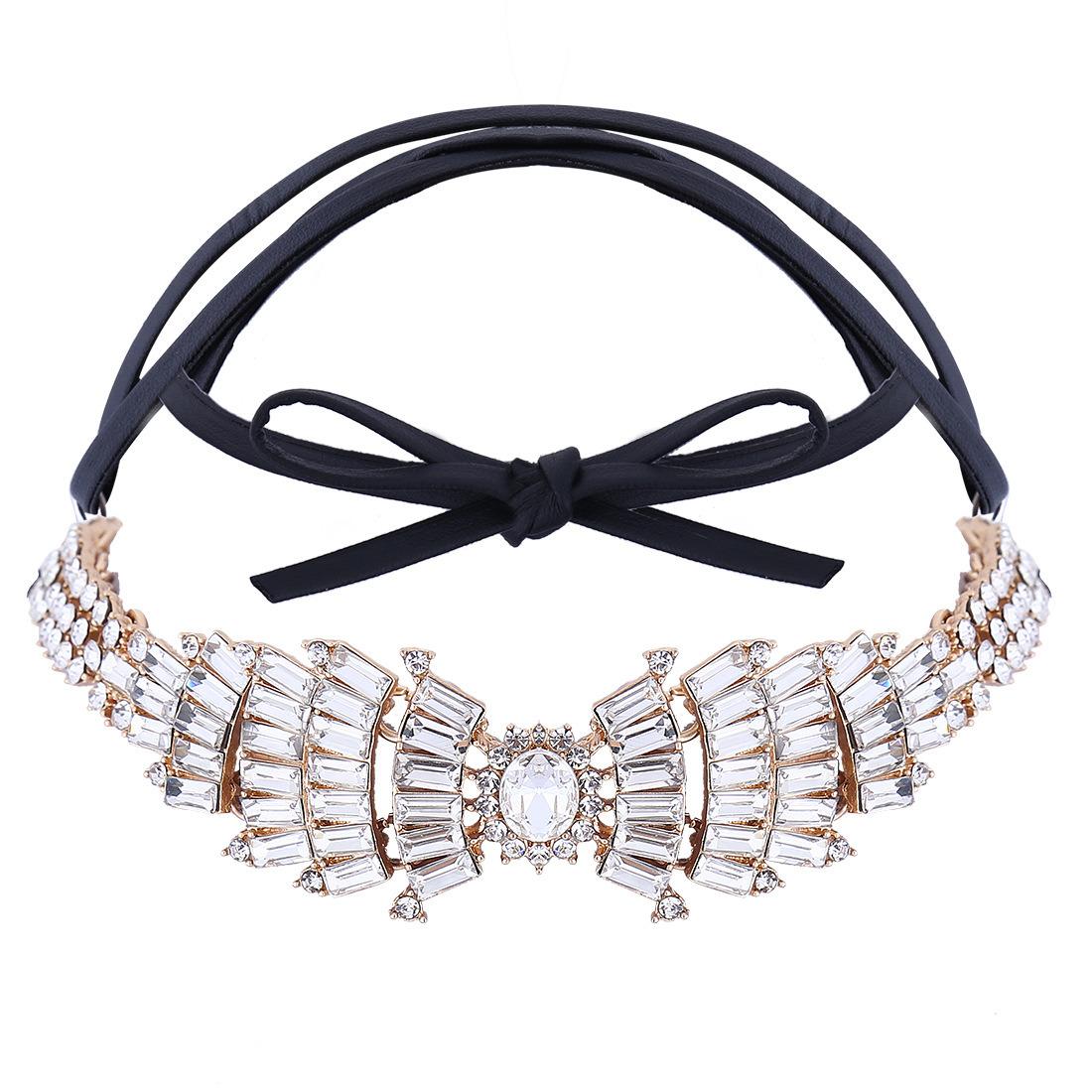 Fashion PU Leather Full Rhinestone Bow Wings Diamond Collar Choker Necklace Jewelry