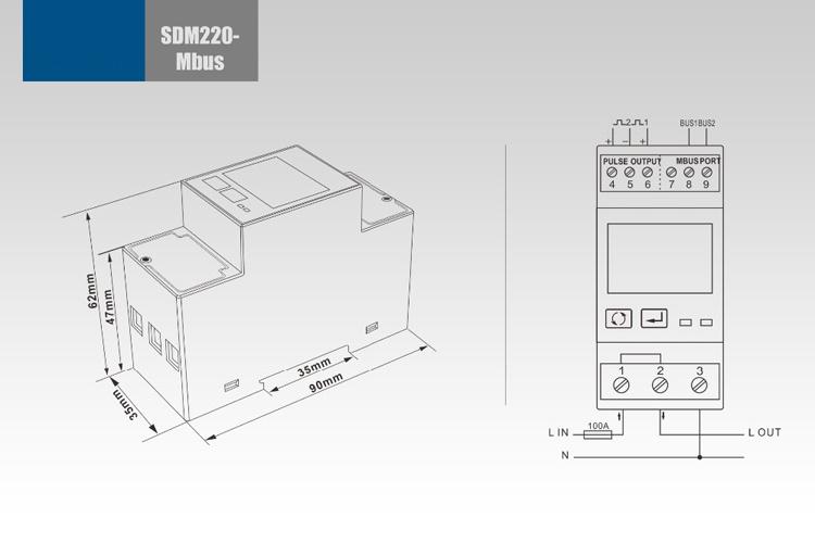 Single Phase Multifunction DIN Rail Mbus Energy Meter Sdm220-Mbus