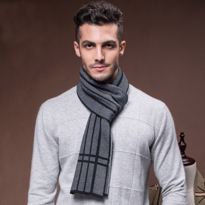 Men′s Fashion Wool Knitted Winter Warm Long Scarf (YKY4617)