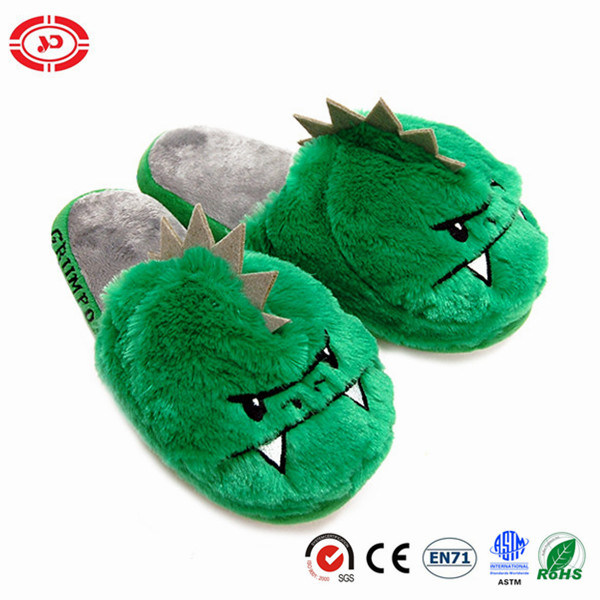 Dinosaur Plush Slippers Green Men Shoe Indoor Gift Toy