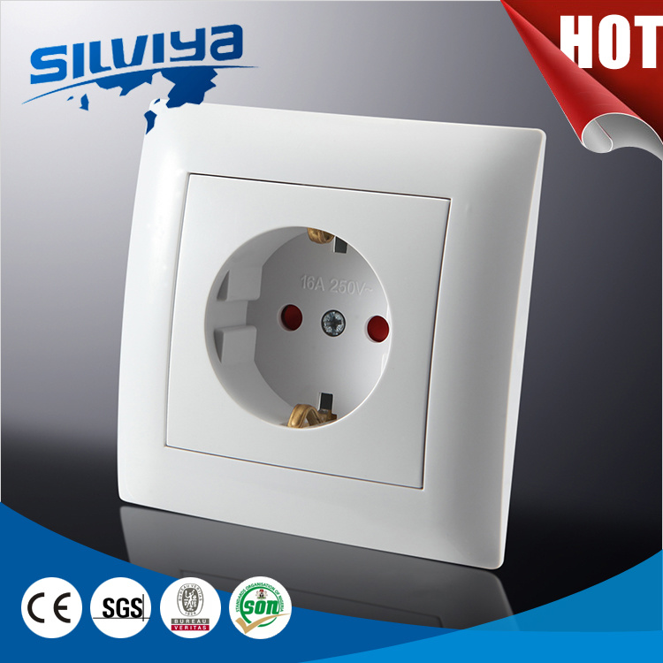 Schuko Wall Socket with Grounding with Child Protection