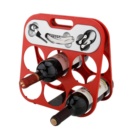 Six Bottle Wine Rack Black Color (608355-B)