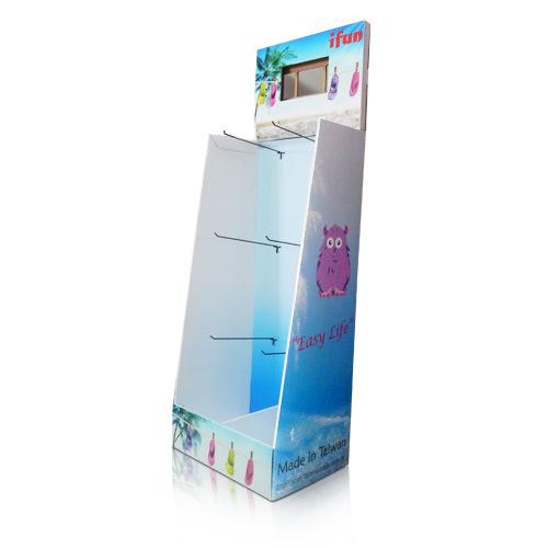 Cardboard Floor Standing Display Shelf with Hooks