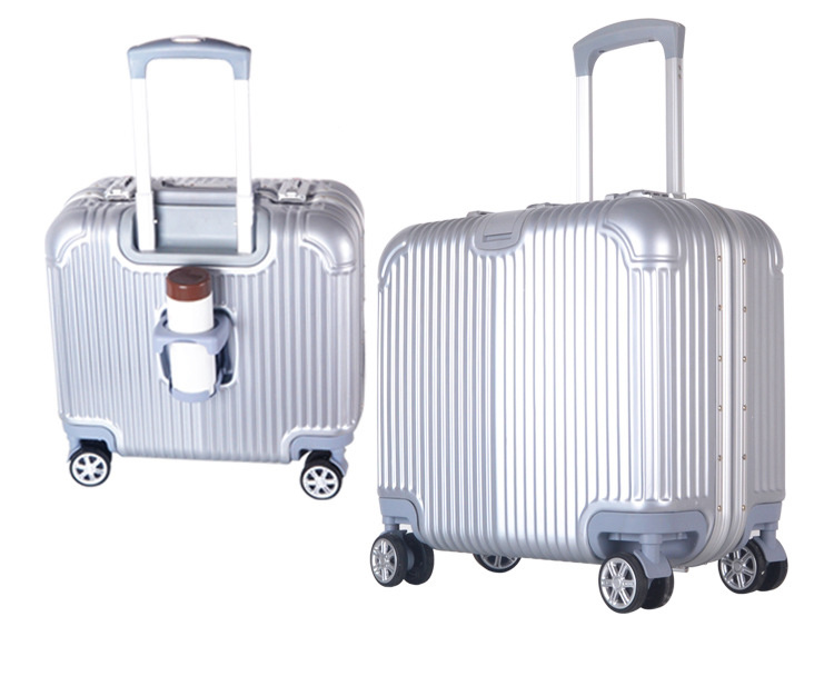 High Quality Hardshell Carry on Boarding Luggage 18 Inch business Bag with Cup Holder