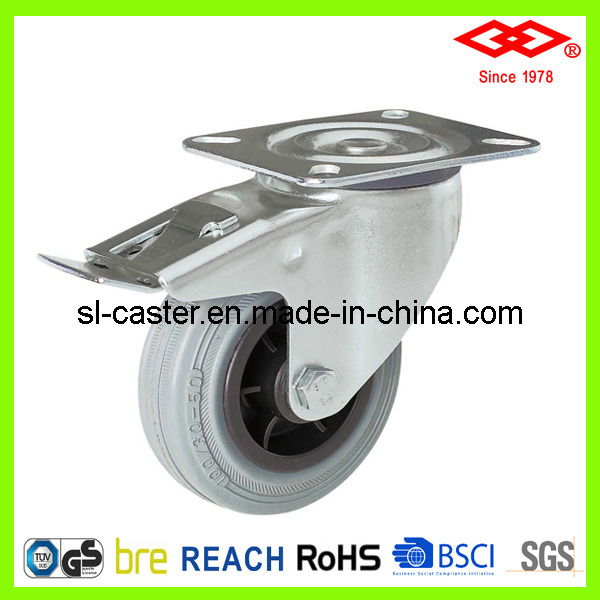 125mm Swivel Plate with Brake Industrial Castor (P102-32D125X37.5S)