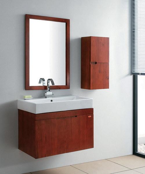 china red solid wood bathroom vanity unit set gbw009