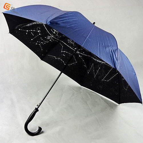 J Handle Auto Open Inner Print Golf Umbrella