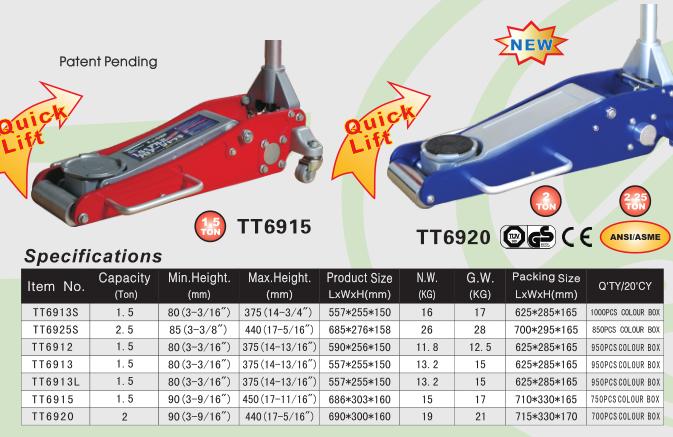 80mm Low Entry Profile 2 Ton hydraulic Trolley Car Floor Jack