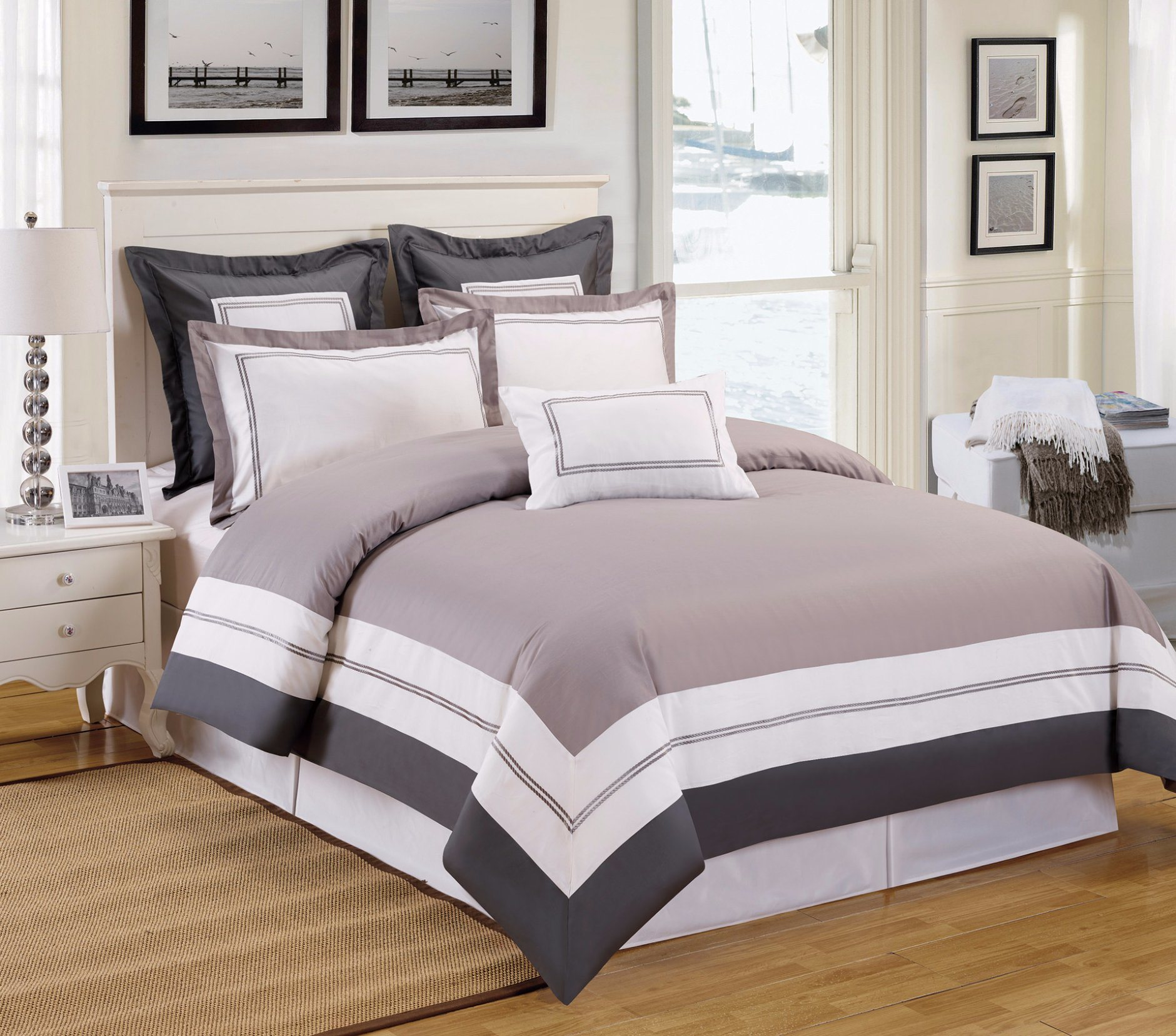 Grey Park 4 Pieces Full Cotton Simple Style Bedding Sets
