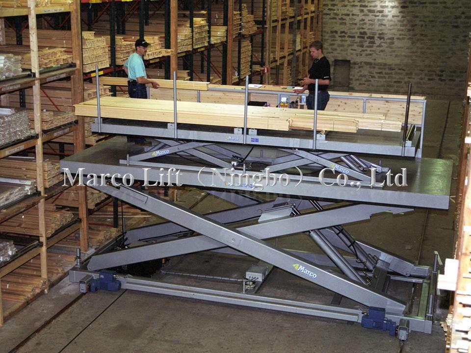 Marco Twin Scissor Lift Table in Warehouse