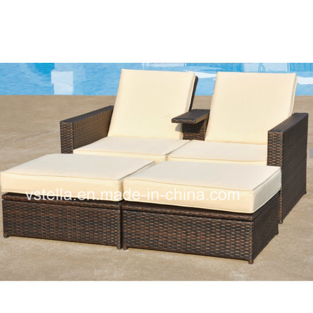 Outsunny 3-Piece PE Wicker Love Seat Lounge Outdoor Rattan Daybed