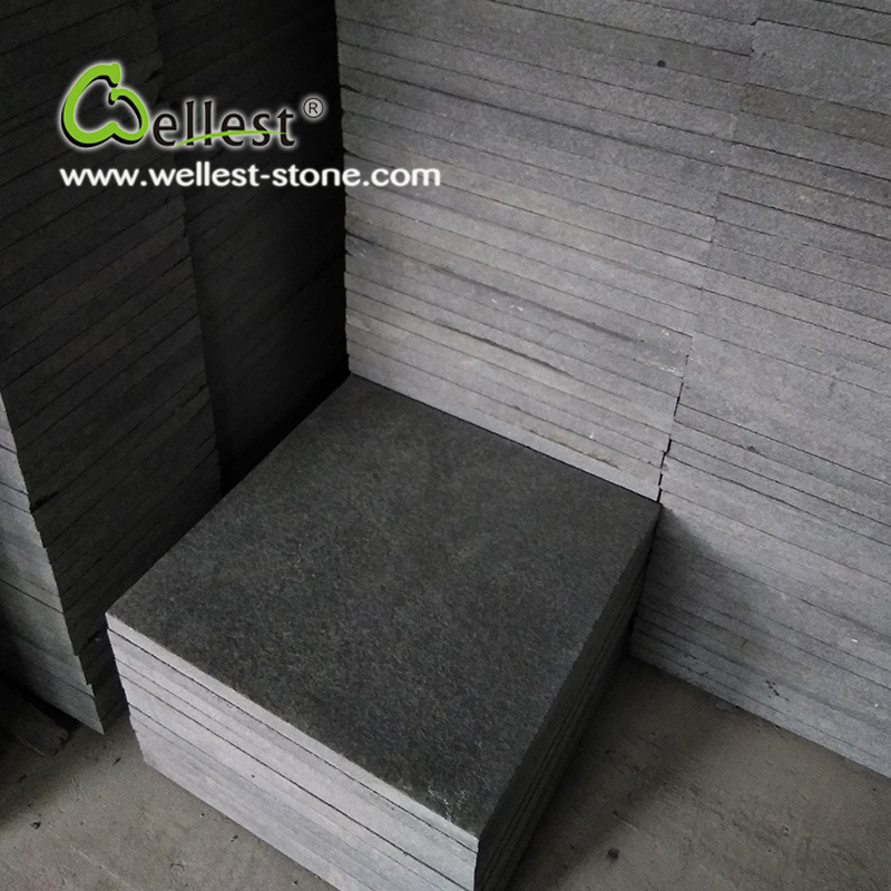 High Quality G684 Black Color Flamed Finished Granite 300X300 for Paving