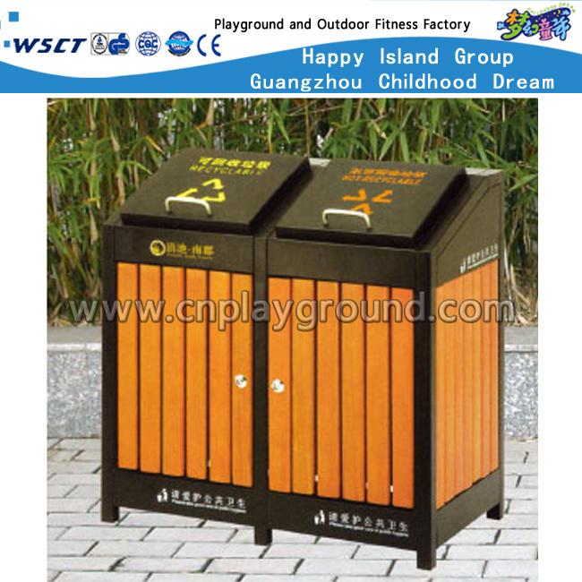 Outdoor Wooden Trash Can Public Waste Bin for Sale (HD-18105)