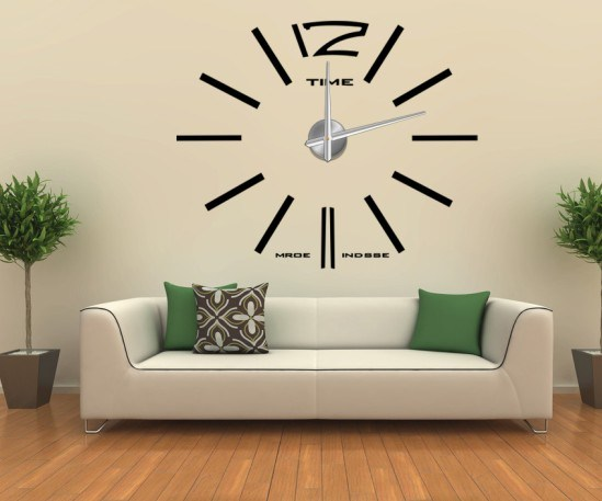 China Home Decor 3d Wall Sticker Big Wall Clock 12s003 China Wall Sticker Wall Clock