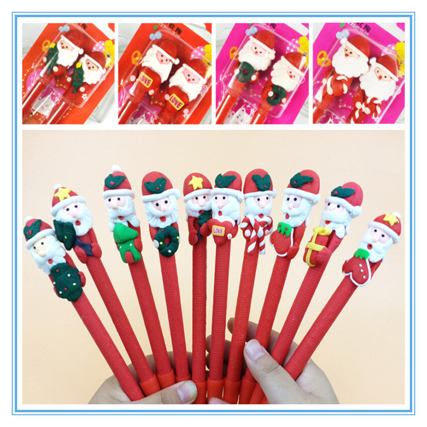 Christmas Decoration Promotional Gift Polymer Clay Santa Claus Ball Pen Suit