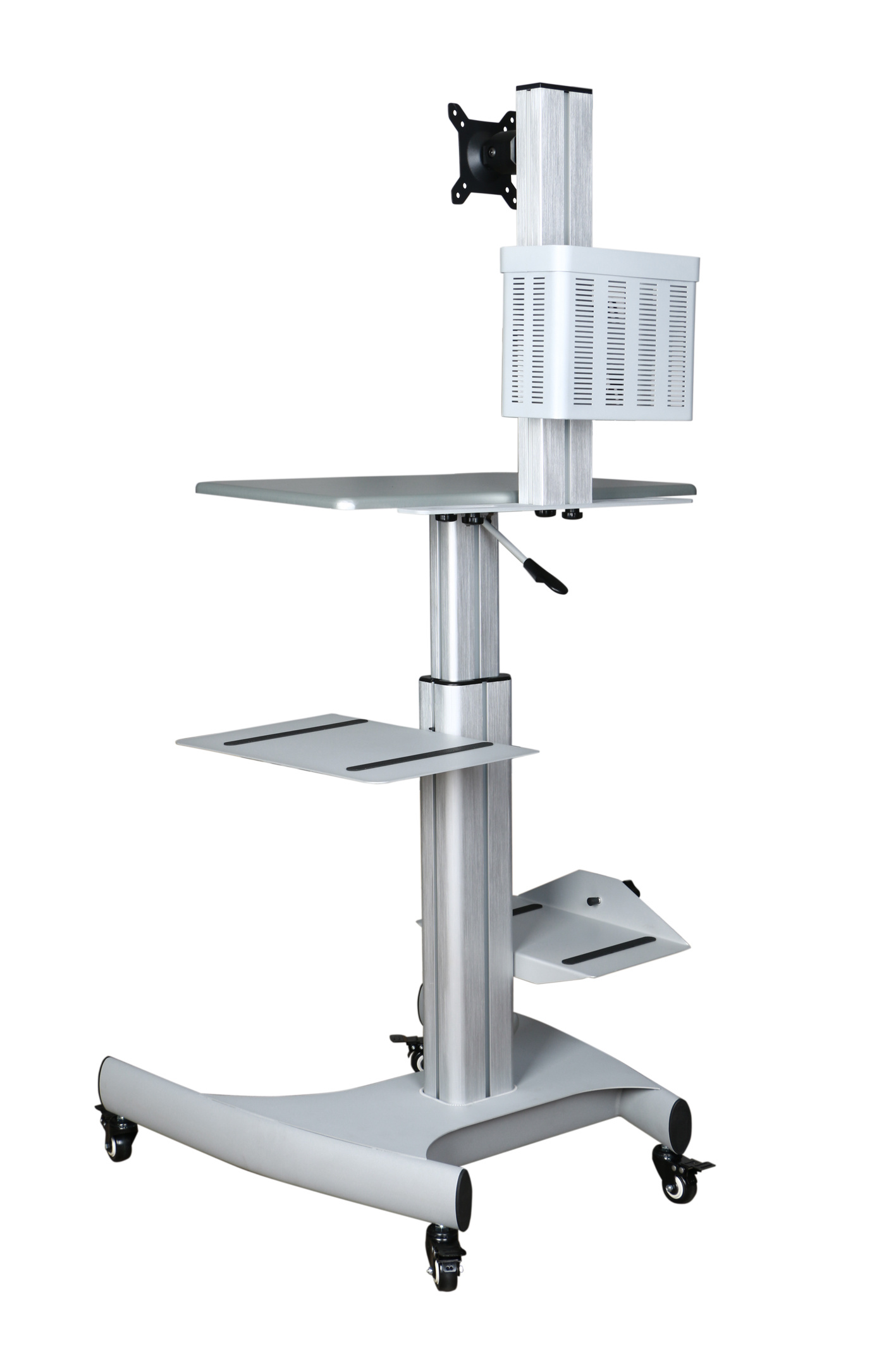 "Mobile Computer Workstation Gas Lift/Trolley Single Monitor 10-24"" Adjustable (GAS 1601)"