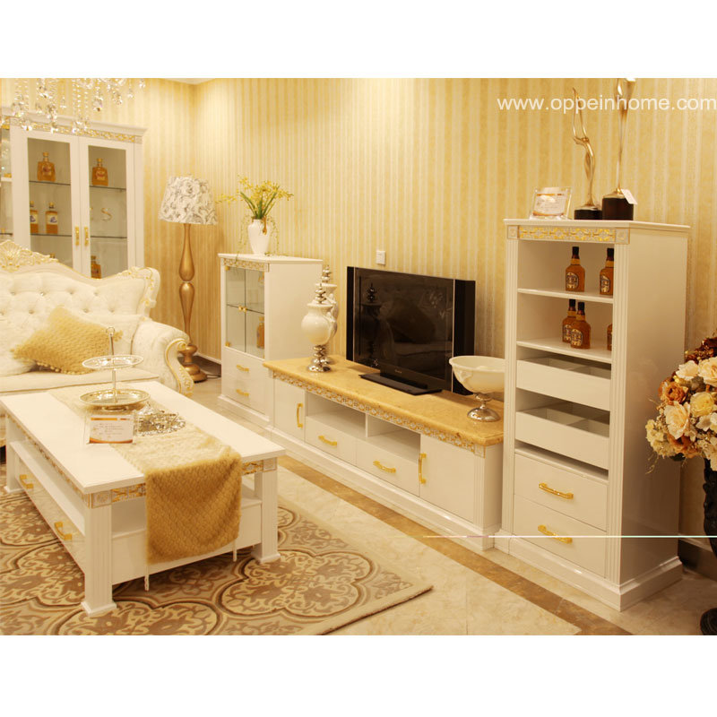 China Oppein Modern White Wooden Furniture with TV Cabinet