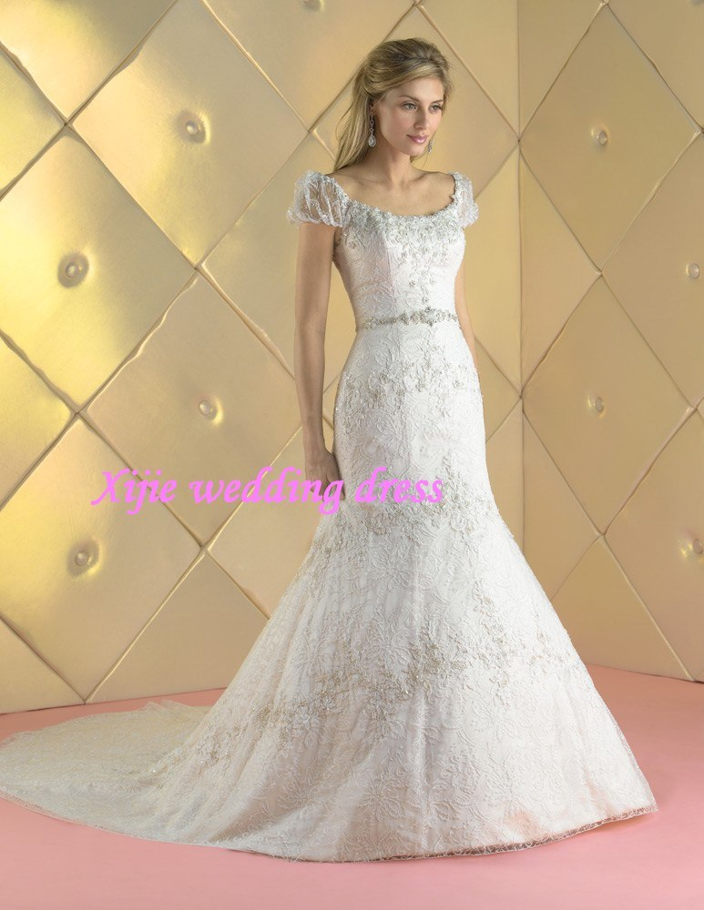100 Guaranteed 2011 Cap Sleeves Beaded Lace Mermaid Wedding Gowns Bridal