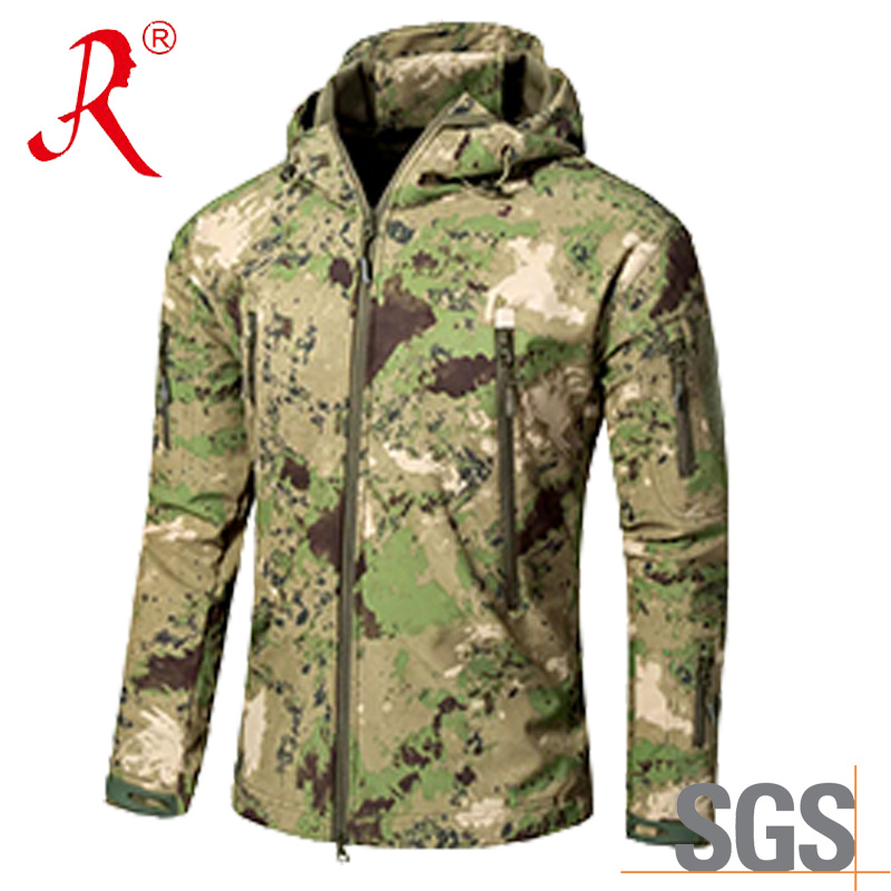 New Green Softshell Material Hoodie Jacket (QF-4124)