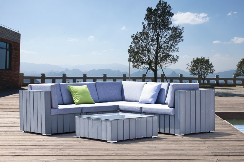 Plastic Imitation Wood Outdoor Furniture Wood Sofa