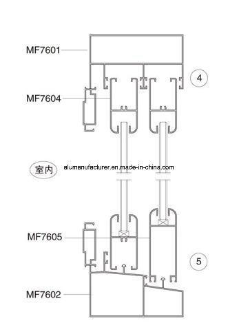 Mf76 Series Single-Glass Sash Aluminium Alloy Extrusion Profile for Door and Window