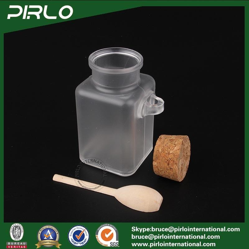100ml 3.3oz Square Shape Plastic Cork Bottle Cosmetic Jar with Wooden Spoon Matte Surface Plastic Bath Salt Bottle with Cork