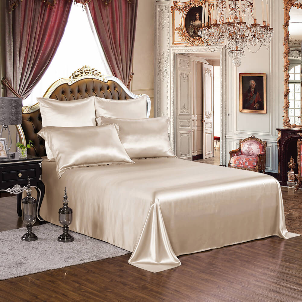 Chinese 100% Silk Bed Sheets of 4PCS for Home