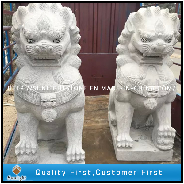 Grey Granite Sculpture Lion Animal Carving for Garden Decoration