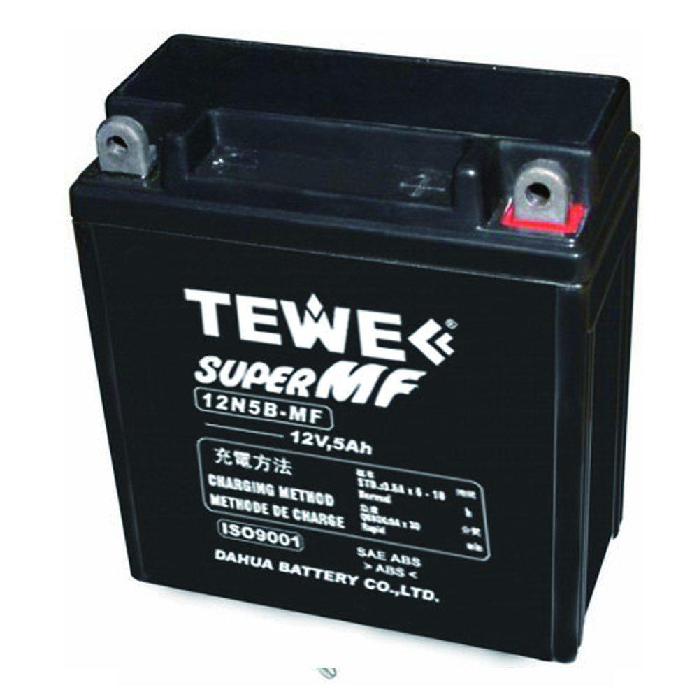 Tewe 12V 5ah Sealed Maintenance Free Motorcycle Battery