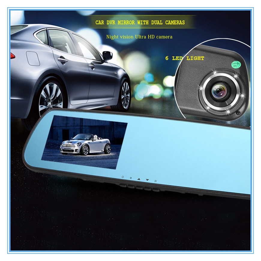 1080P Dual Lens Car DVR Camera for 6 LED Lights