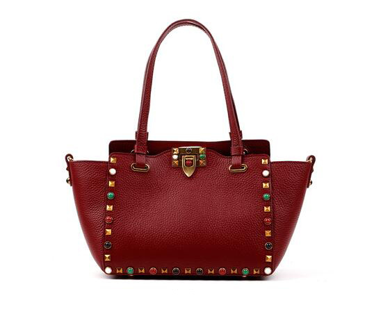 2017 Fashion Studded Women′s Bag Wide Colorful Strap Genuine Leather Hand Bag Lady Designer Handbag Emg4768