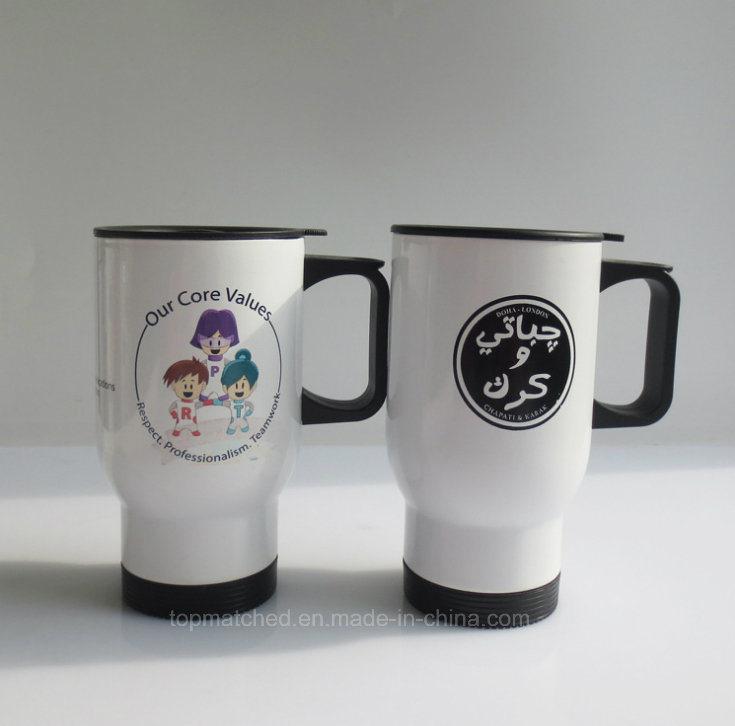Stainless Steel Sublimation Coated Travel Coffee Mug (white)
