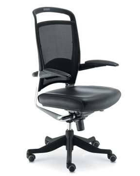 Stainless Steel Base Adjustable Arms BIFMA Leather Office Chair (HX-LC006)