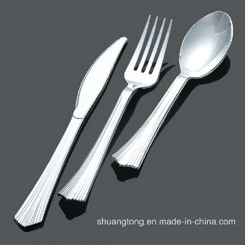 Disposable Plastic Cutlery/Metal Coated Plastic Cutlery/Silver Coated Plastic Cutlery