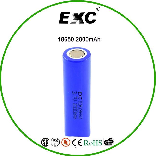 High Quality 18650 Rechargeable Li-ion Battery 3.7V 2000mAh