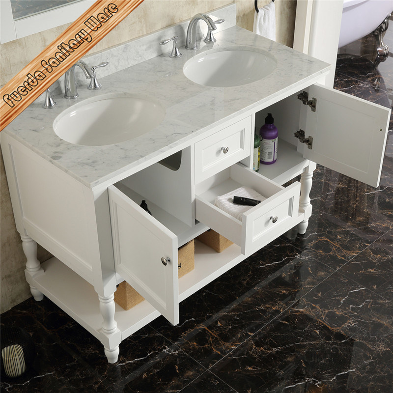 Fed-362 48inch Double Sinks Carrara Marble Top Hotel Style Bathroom Cabinets