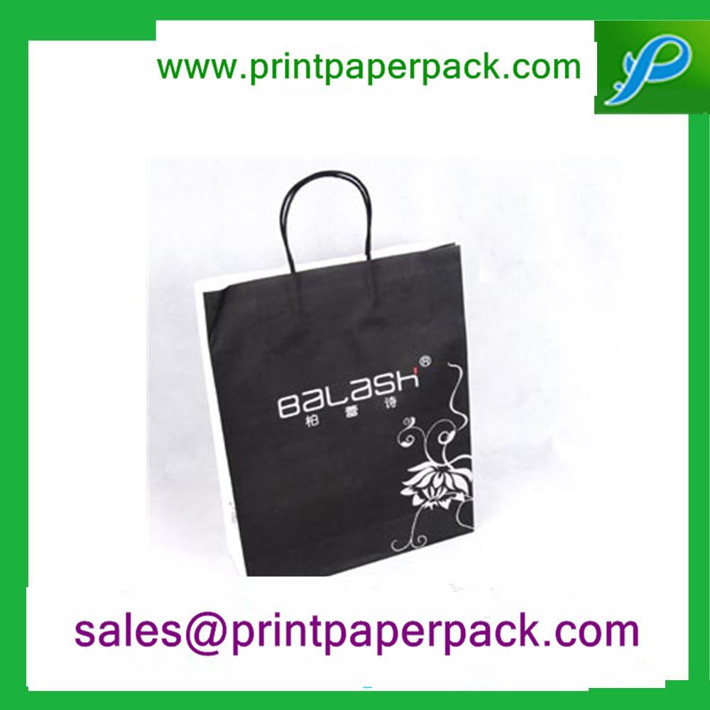 Custom Printed Black Luxury Paper Gift Cosmetic Shopping Bag
