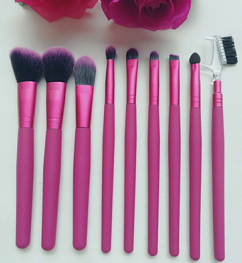 9 Pieces Rose Red Wood Handle Synthetic Hair Cosmetic Brush Makeup Brush