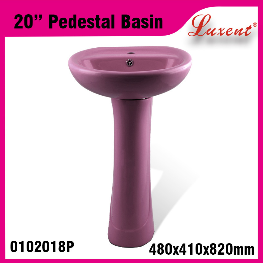Low Price Ceramic Dinner Room Solid Surface Hand Wash Pedestal Basin