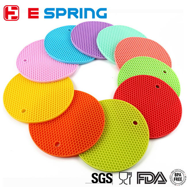 Round Circle Shaped Table Silicone Mat with Cells Design