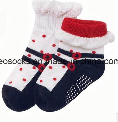 Strip Kid′s Cotton Anti-Slip Socks
