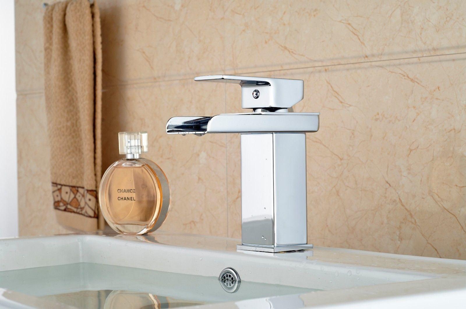 Chrome Brass Deck Mount Basin Hot&Cold Water Faucet