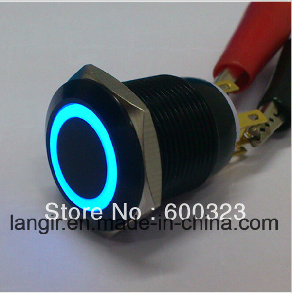 New Style 19mm Anti Vandal Pushbutton Made of Black Aluminum Ring LED