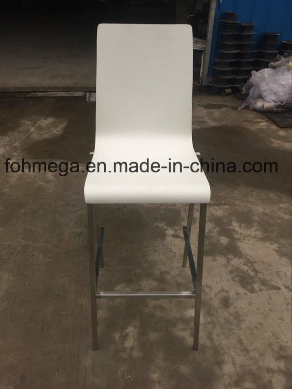 Stackable White Plywood Bar Chair Stool (FOH-XM67-528)