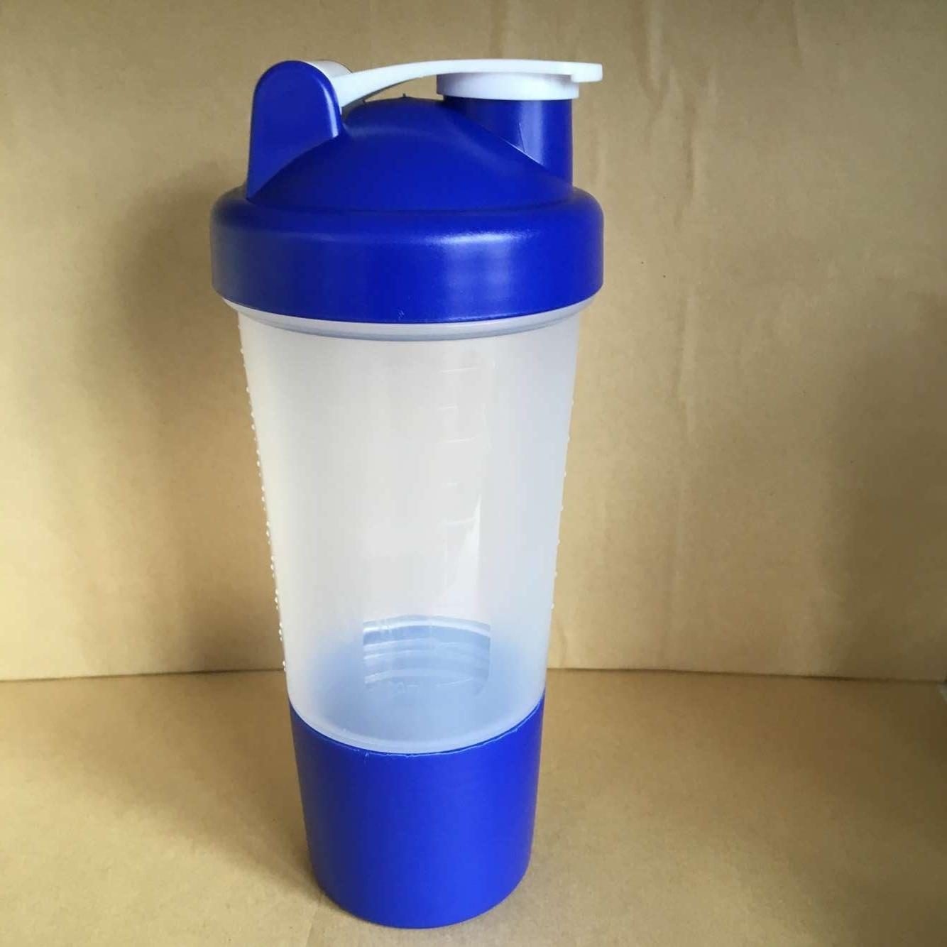 500ml BPA Free Plastic Protein Shaker Bottle 2-in-1