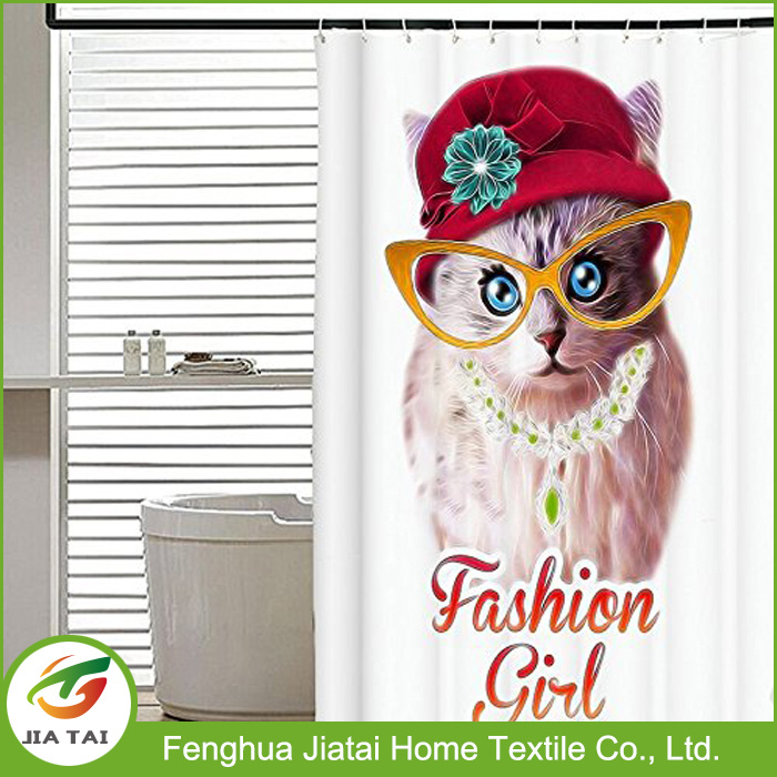 Pretty Custom Cheap Fabric Cute Cat Shower Curtain