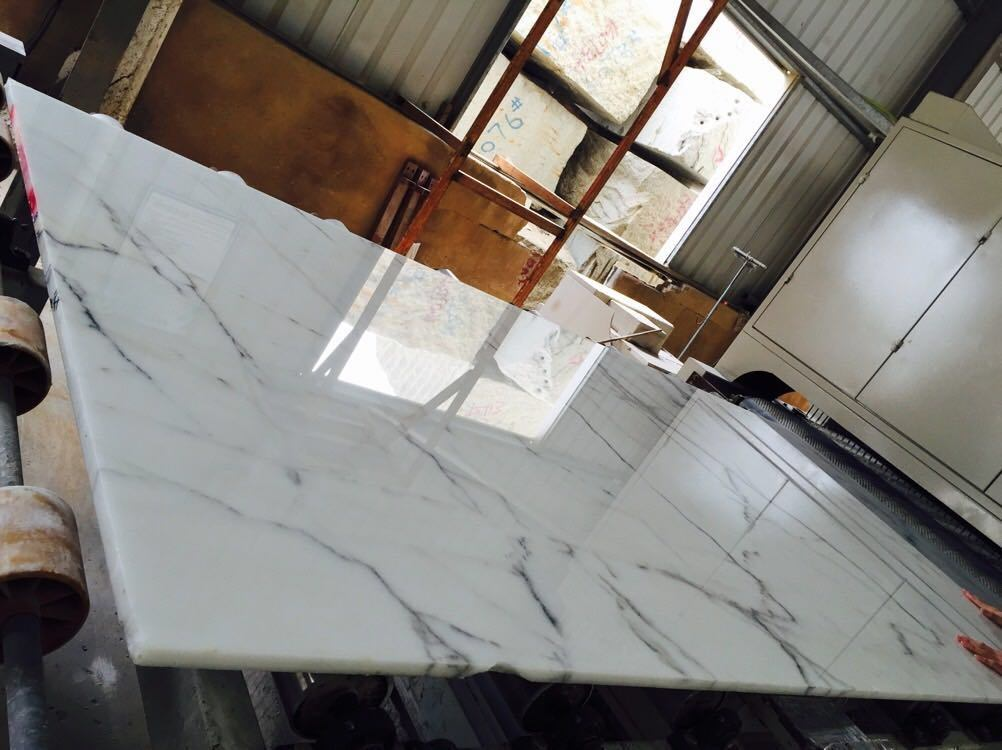 Polished Bianco Calacatta White Marble Slabs