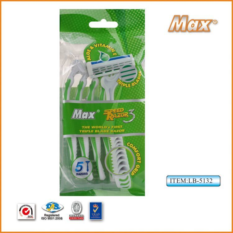 Triple Blades Stainless Steel Bldes Disposable Razor