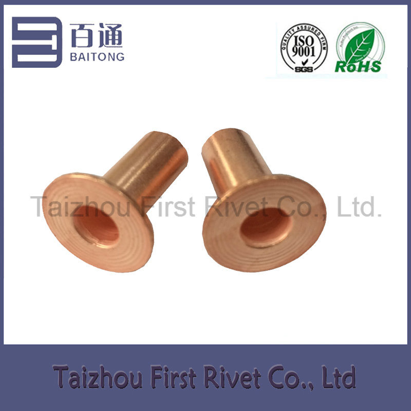 8X15mm Copper Plated Flat Head Full Tubular Brake Lining Steel Rivet